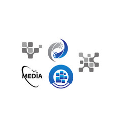technology transfer media template set vector image