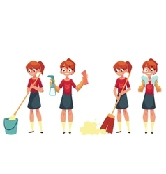 Teenage girl cleaning the house doing chores vector