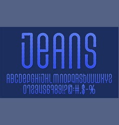 textured vintage font denim label typeface jeans vector image
