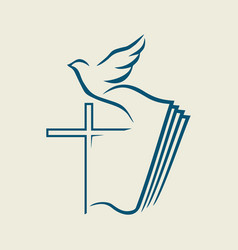 The bible and the cross of jesus vector