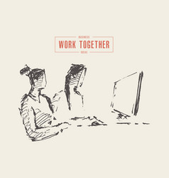 Two business women computer work together vector