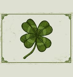 vintage green lucky clover vector image