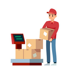 Warehouse man puts boxes on scales in vector