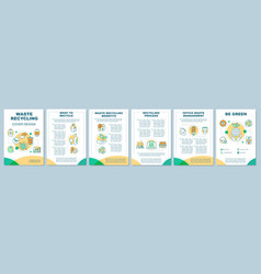 Waste recycling cover design brochure template vector