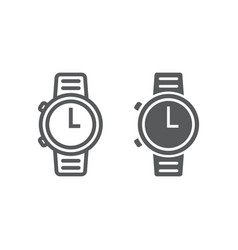 watch line and glyph icon clock vector image