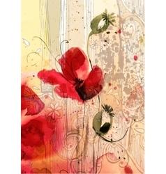 Watercolor of poppies vector