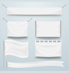 white clear textile banner and flags template set vector image