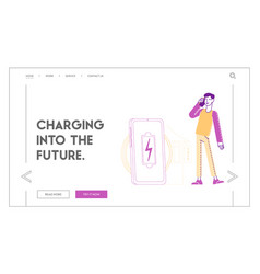 Wireless pad for induction charging landing page vector