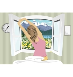 Woman stretching in bed after wake up vector