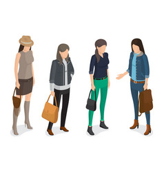 Women collection of model in modern autumn apparel vector