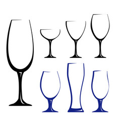 black silhouettes of glasses vector image vector image