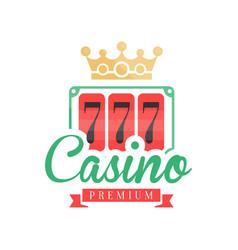 casino premium logo colorful gambling vintage vector image