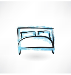 bed grunge icon vector image vector image