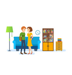 couple against background of interior of room vector image