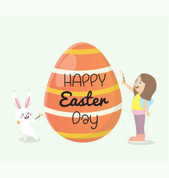 Girl and bunny painted easter eggs vector