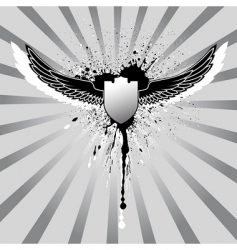 grunge wings and shield vector image