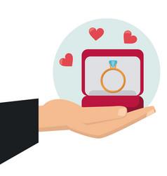 hand holding ring box wedding vector image