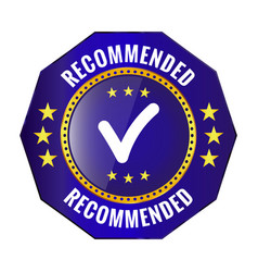 recommended blue badge vector image