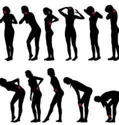 Silhouettes of women with different pain vector image