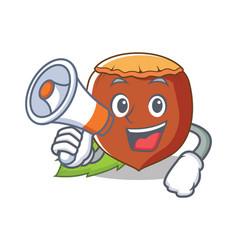 with megaphone hazelnut character cartoon style vector image
