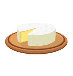 camembert cheese on plate cartoon flat vector image vector image
