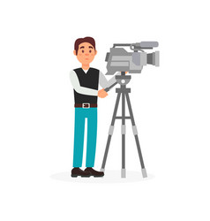 cameraman with movie camera entertainment vector image