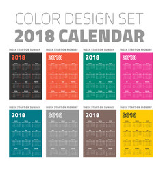color pocket calendar set 2018 vector image