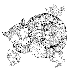 Hand drawn doodle outline cat sleeping vector image vector image
