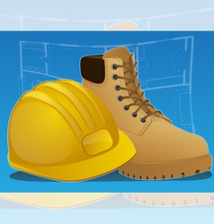 hardhat and work boots vector image vector image