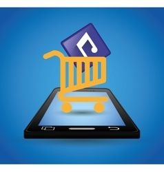 Mobile music shopping cart technology vector