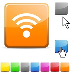 Rss glossy button vector image