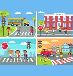 schoolchildren cross road on pedestrian crossing vector image