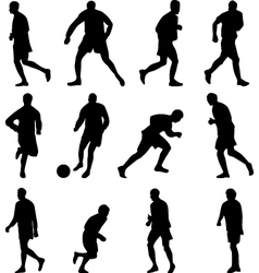 soccer player collection silhouette vector image vector image