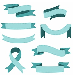 Stitched ribbons set vector image vector image