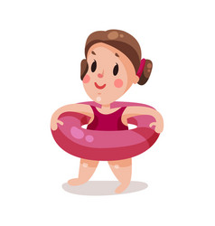 sweet little girl with inflatable pink buoy kid vector image