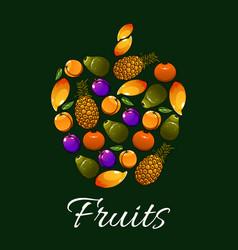 tropical fruits in a shape of apple icon vector image