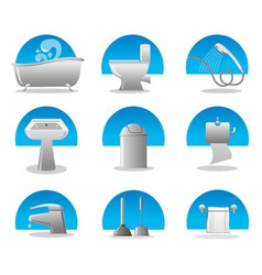 bathroom and toilet web icon set vector image vector image