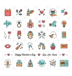 Colorful Valentine icons flat design line thin vector image vector image