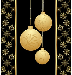 cute christmas card with gold balls - vector image