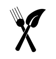 fork leave healthy food symbol pictogram vector image