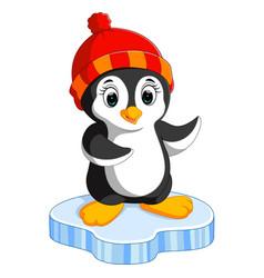 Happy cartoon penguin on ice vector