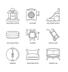 mono line icons set of inflatable castles vector image vector image