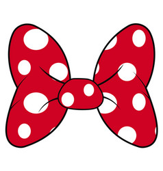 Perfect bow of red fabric white dots pattern vector