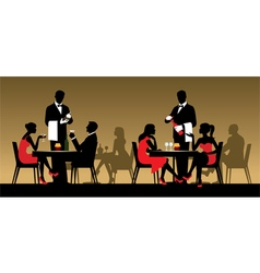 Silhouettes of people in a restaurant vector image vector image