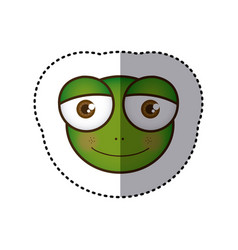 sticker colorful picture face of frog with big vector image