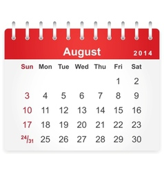 Stylish calendar page for August 2014 vector image