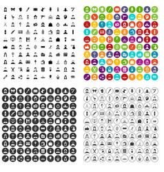 100 hairdresser icons set variant vector image