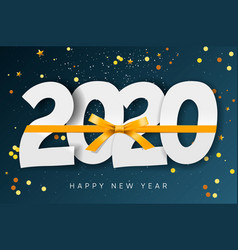 2020 happy new year background with gold ribbon vector image