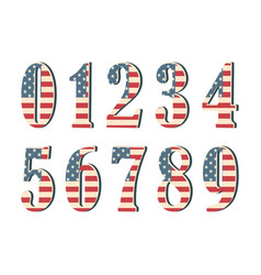 3d numbers with american flag texture isolated on vector image