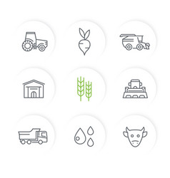 Agriculture farming line icons set vector
